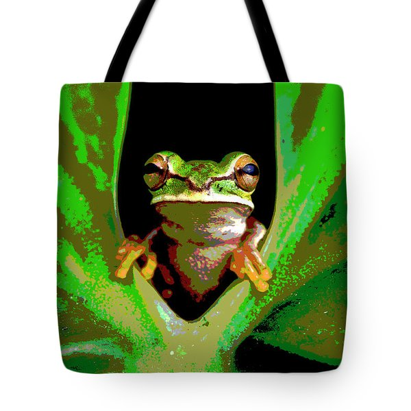 Tote Bag featuring the mixed media Treefrog by Charles Shoup