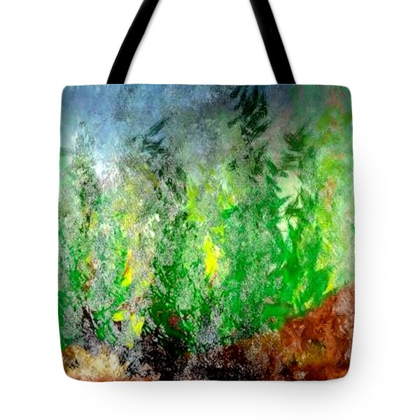 Tote Bag featuring the painting Trees 4 by John Krakora