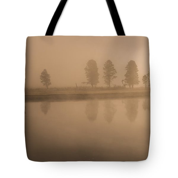 Trees And Fog Tote Bag