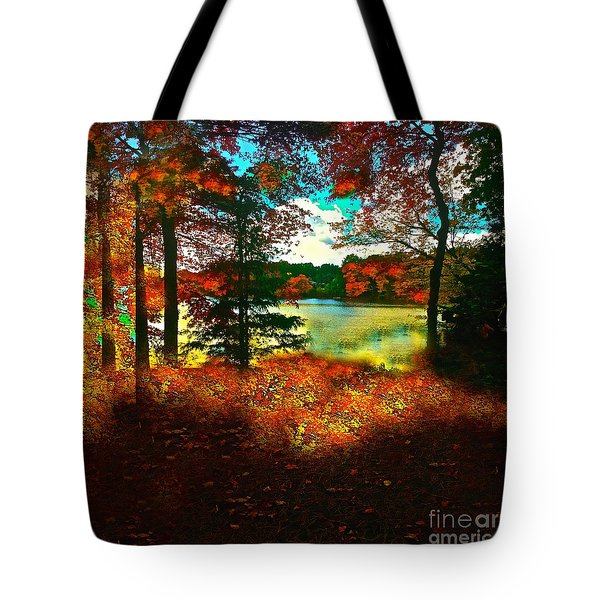 Trees And Shadows In New England Tote Bag by Saundra Myles