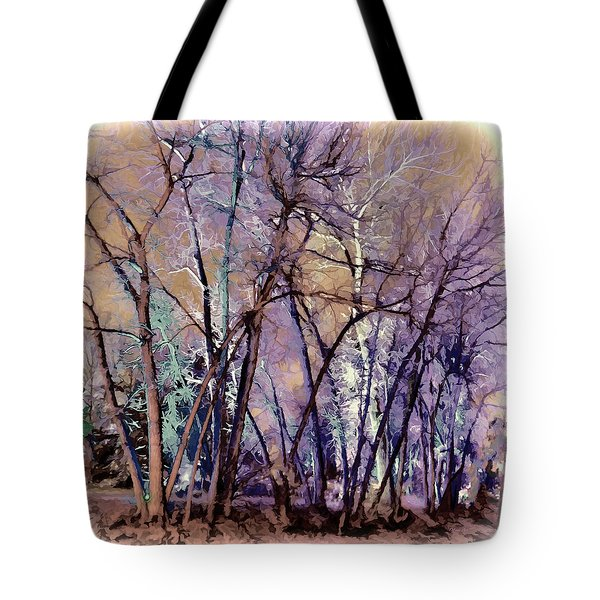 Tote Bag featuring the digital art Trees Are Poems That The Earth Writes Upon The Sky by OLena Art Brand