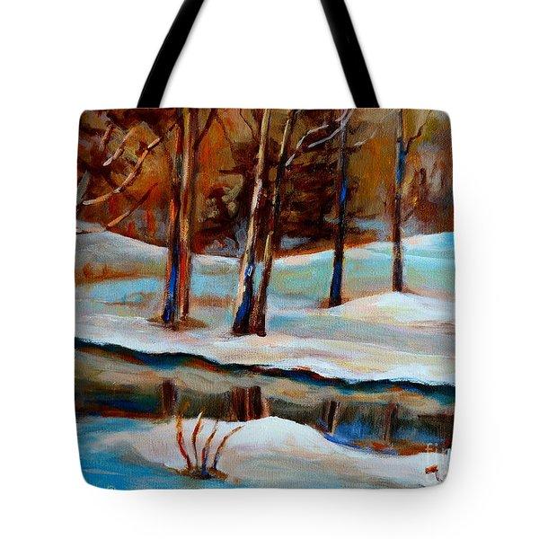 Trees At The Rivers Edge Tote Bag by Carole Spandau