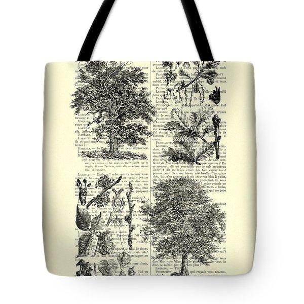Trees Black And White Illustration Tote Bag
