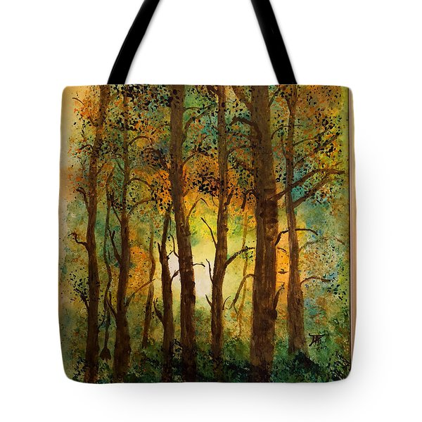 Tote Bag featuring the painting Trees by Donald Paczynski