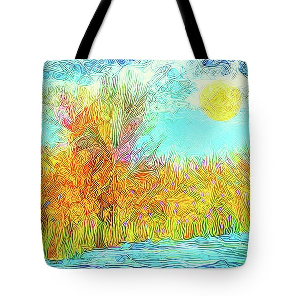 Tote Bag featuring the digital art Trees Flow With Sky - Boulder County Colorado by Joel Bruce Wallach