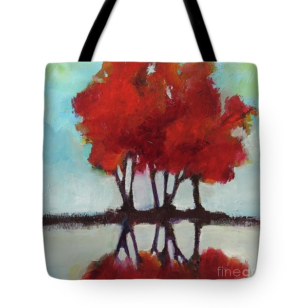 Tote Bag featuring the painting Trees For Alice by Michelle Abrams
