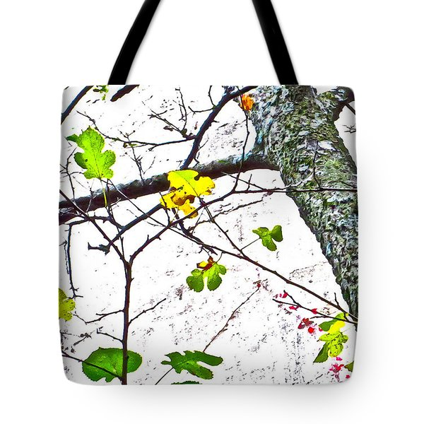 Trees Growing In Silo Abstract- Small Landscape Edition Tote Bag by Tony Grider
