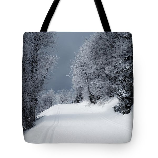 Trees Hills And Snow Tote Bag