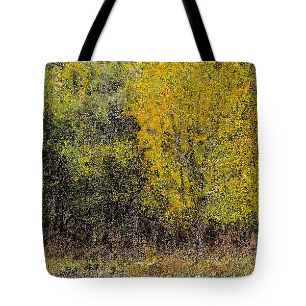 Trees In Fall With Texture Tote Bag by John Brink