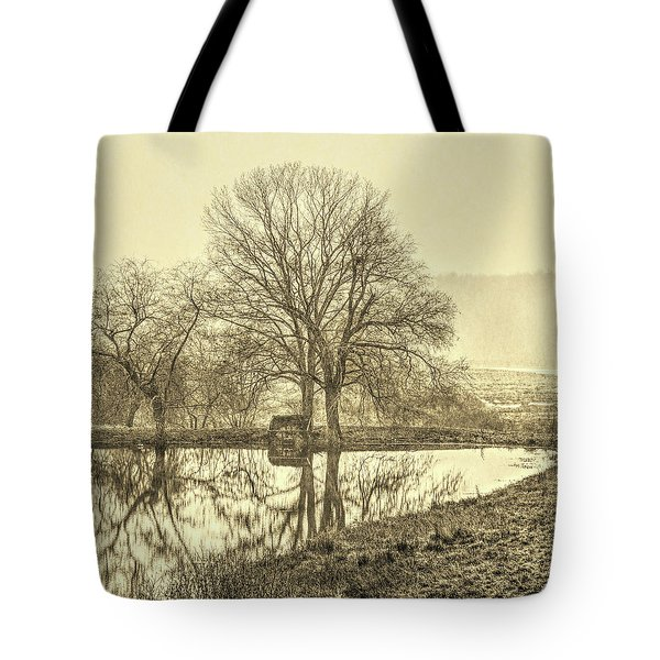 Trees In Fog Kennebunk Maine Sepia  Tote Bag