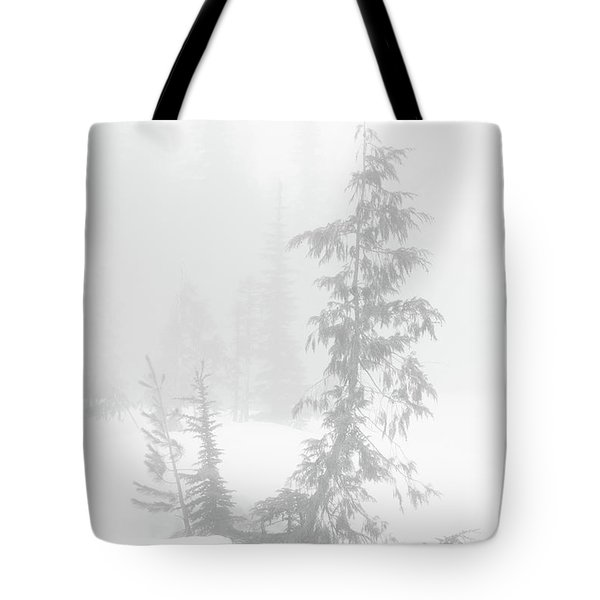 Tote Bag featuring the photograph Trees In Fog Monochrome by Tim Newton