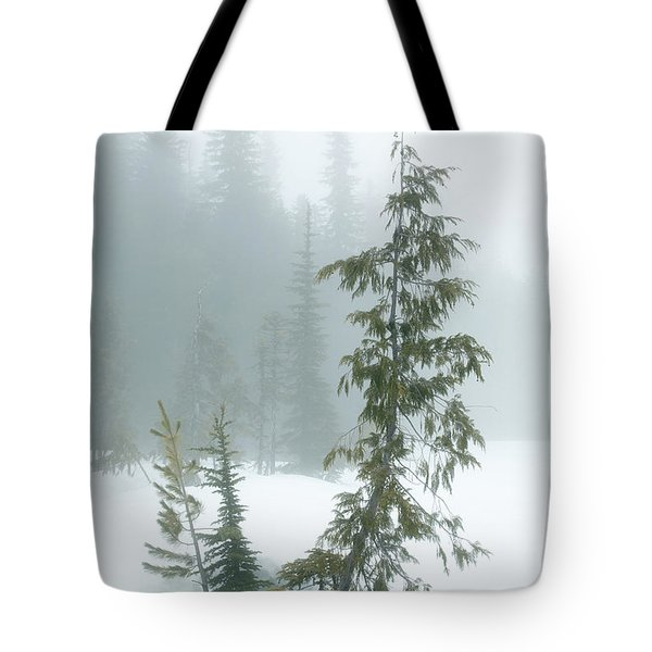 Trees In Fog Tote Bag