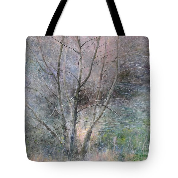Tote Bag featuring the painting Trees In Light by Harry Robertson