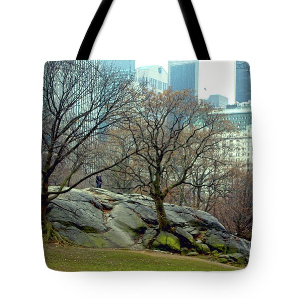 Trees In Rock Tote Bag by Sandy Moulder