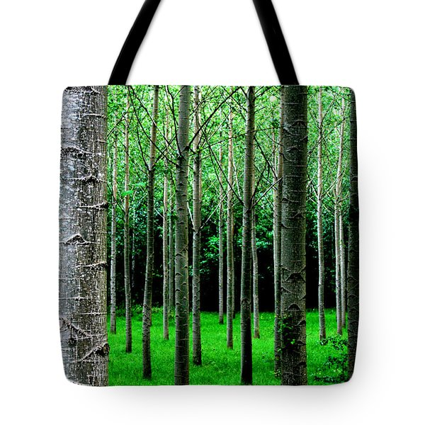 Tote Bag featuring the digital art Trees In Rows by Julian Perry