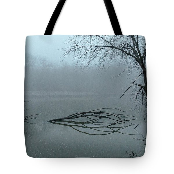 Trees In The Fog On The River Tote Bag