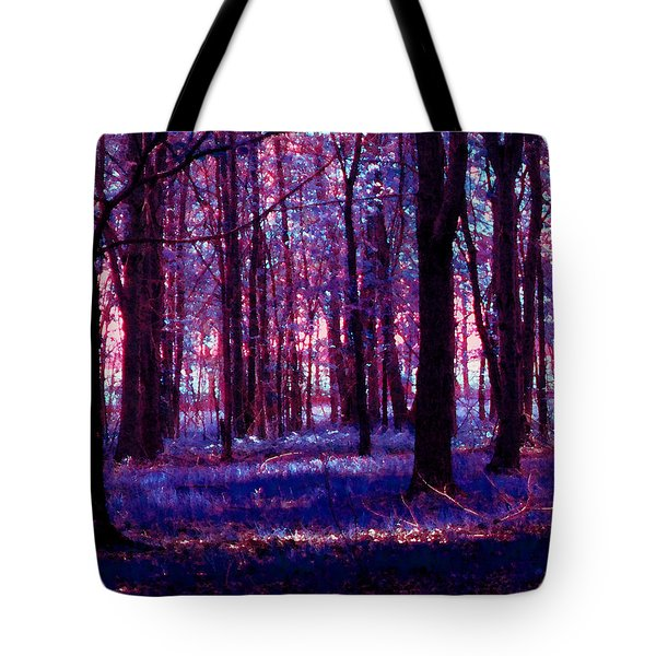 Tote Bag featuring the photograph Trees In The Woods In Pink And Blue by Michelle Audas