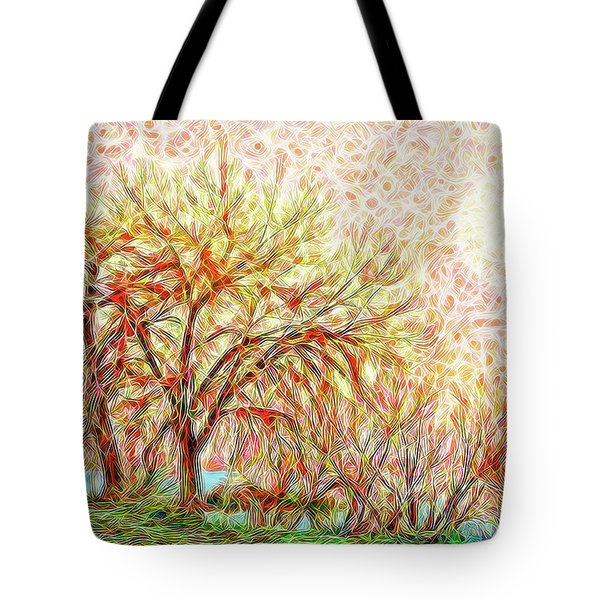 Tote Bag featuring the digital art Trees In Winter Under Full Moon At Dusk by Joel Bruce Wallach