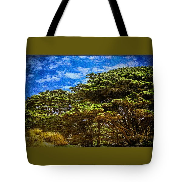 Trees On An Oregon Beach Tote Bag by John Brink