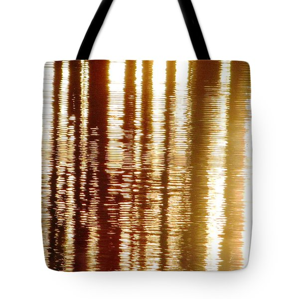 Trees On Rippled Water Tote Bag