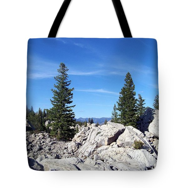 Tote Bag featuring the photograph Trees On The Rocks by Charles Robinson