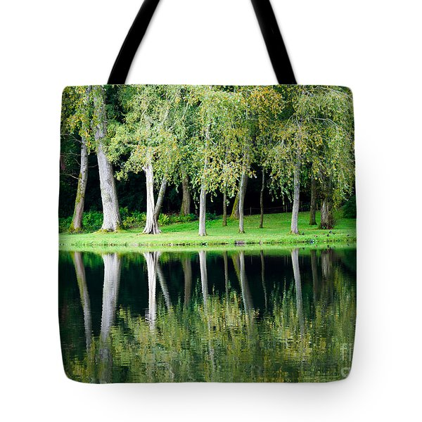 Trees Reflected In Water Tote Bag