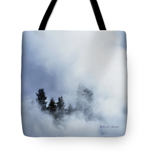Trees Through Firehole River Mist Tote Bag by Kae Cheatham