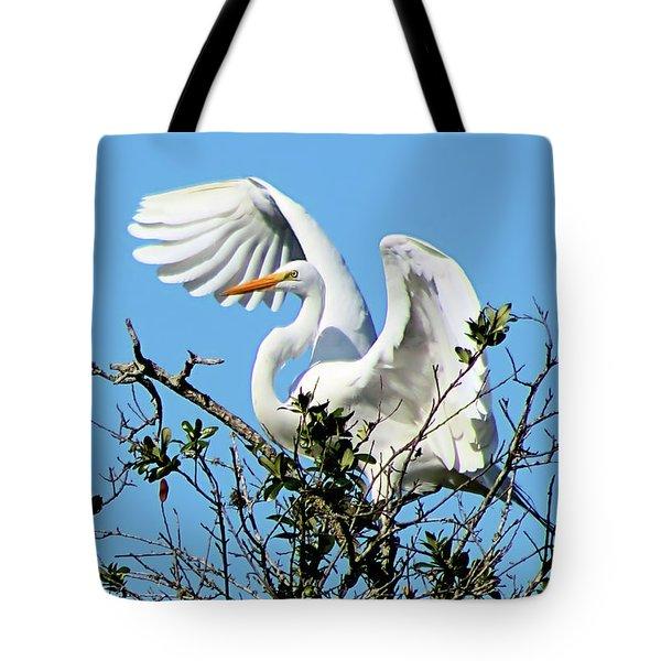 Treetop Egret Tote Bag