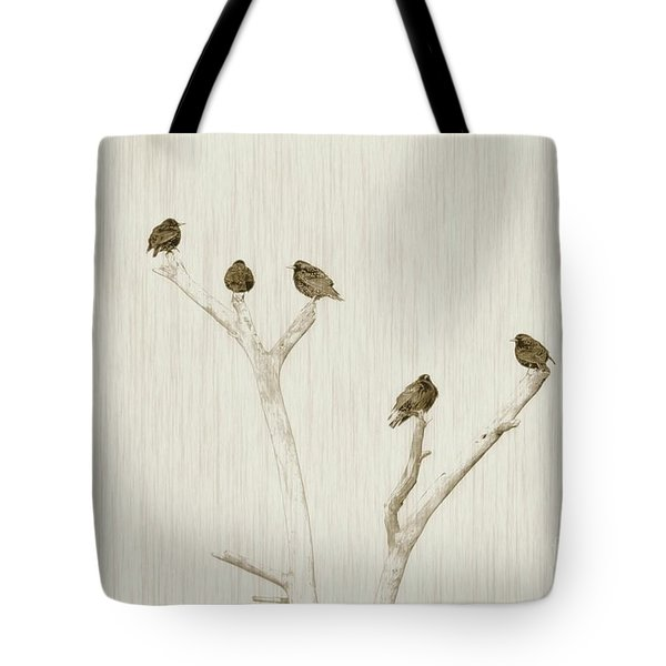 Treetop Starlings Tote Bag by Benanne Stiens