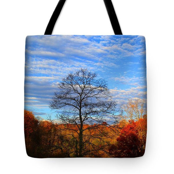 Tote Bag featuring the photograph Treetops Sunrise by Kathryn Meyer