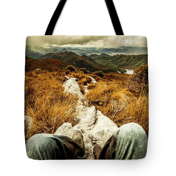 Trekking Tasmanian Mountains Tote Bag