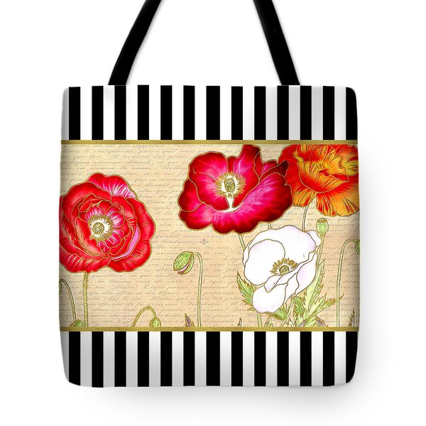 Trendy Red Poppy Floral Black And White Stripes Tote Bag by Tracie Kaska