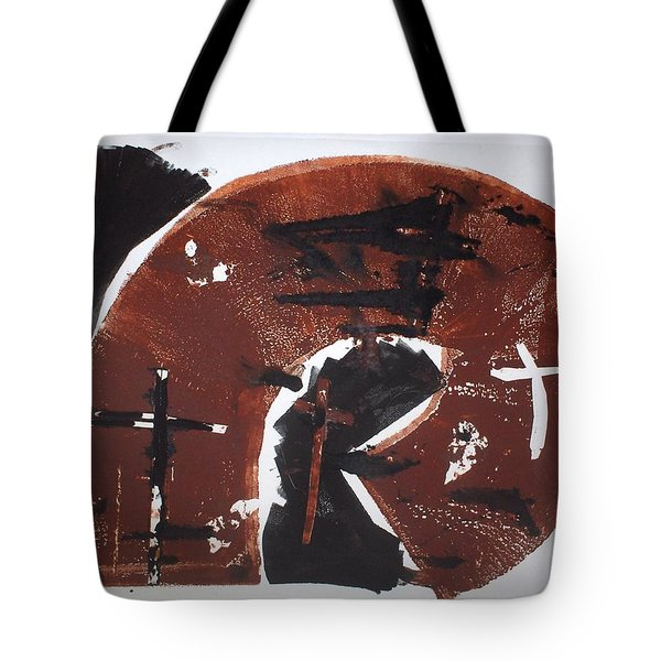 Tote Bag featuring the mixed media Tres Cruces by Erika Chamberlin