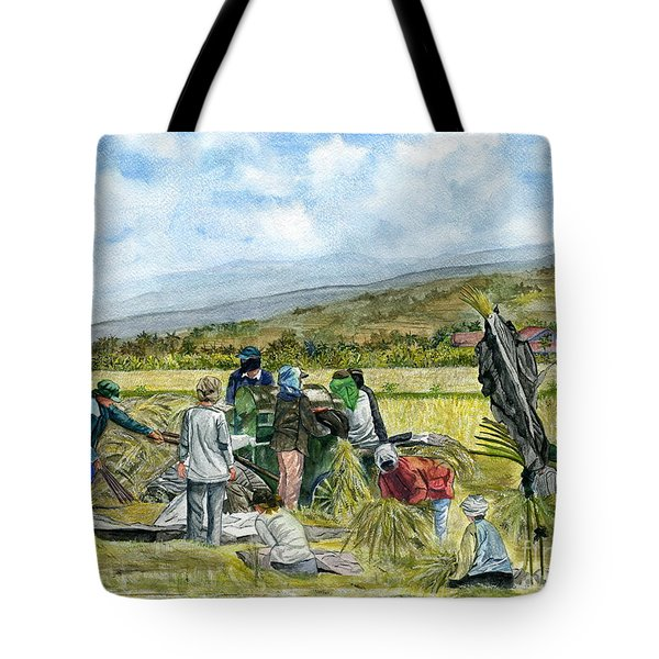 Tote Bag featuring the painting Treshing Rice by Melly Terpening