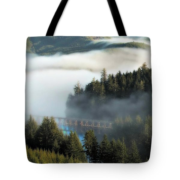 Trestle In Fog Tote Bag by Katie Wing Vigil