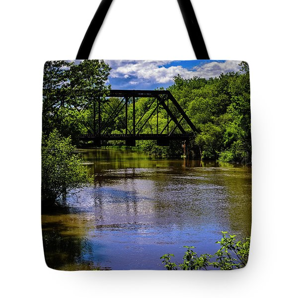 Tote Bag featuring the photograph Trestle Over River by Mark Myhaver