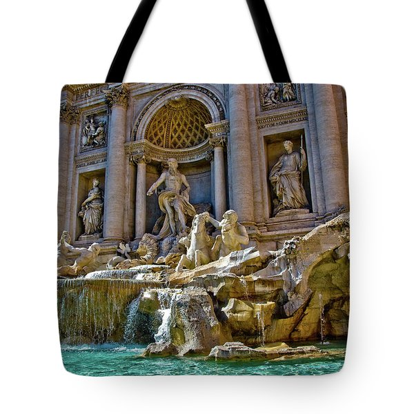 Tote Bag featuring the photograph Trevi Fountain From Right Side  by Harry Spitz
