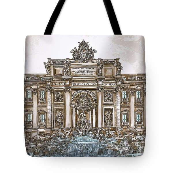 Tote Bag featuring the painting  Trevi Fountain,rome  by Andrzej Szczerski