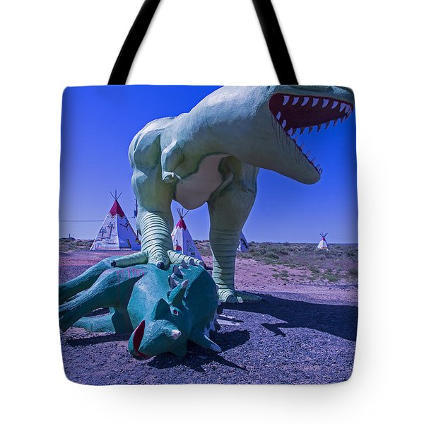 Trex And Triceratops  Tote Bag