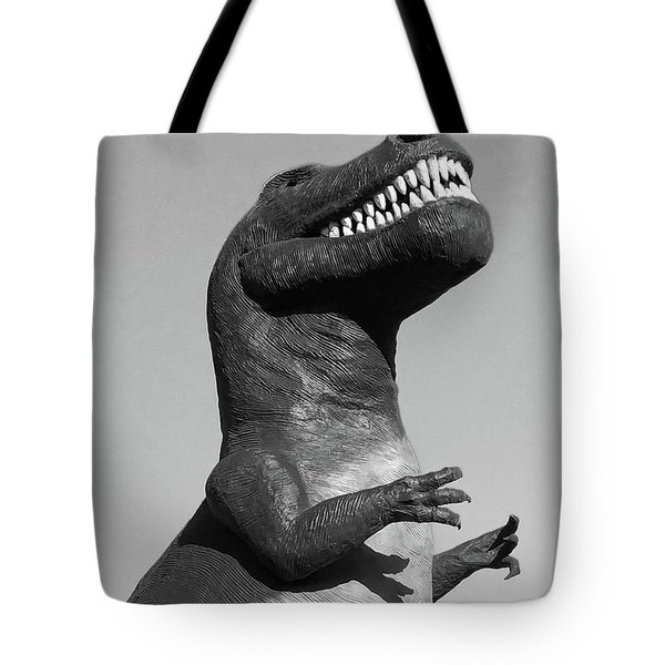 T-rex Black And White Tote Bag