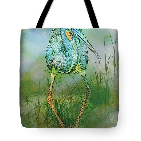 Tri-colored Heron Balancing Act - Colorized Tote Bag