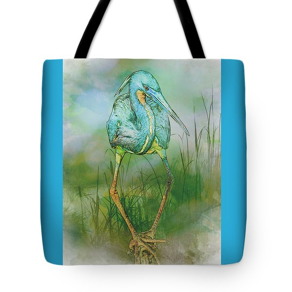 Tri-colored Heron Balancing Act - Colorized Tote Bag