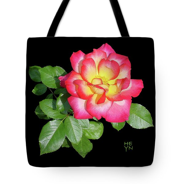 Tri-color Pink Rose2 Cutout Tote Bag by Shirley Heyn
