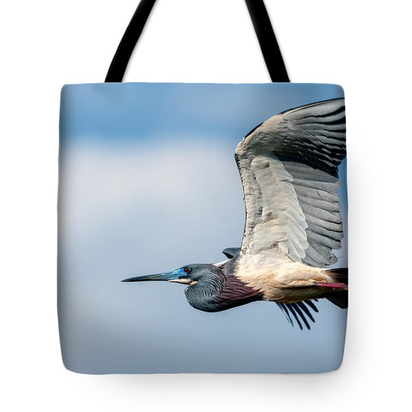 Tri-colored Heron In Flight Tote Bag