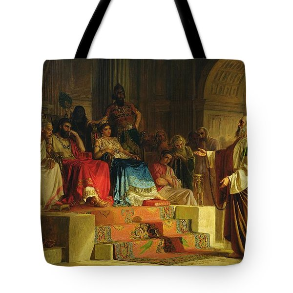 Trial Of The Apostle Paul Tote Bag by Nikolai K Bodarevski