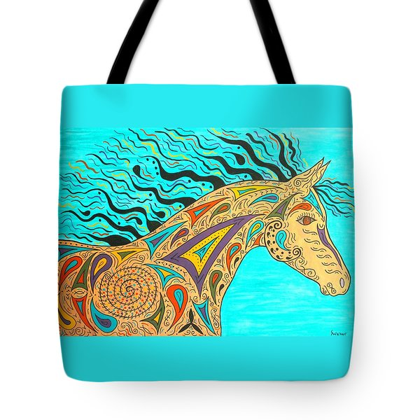 Tribal Carnival Spirit Horse Tote Bag