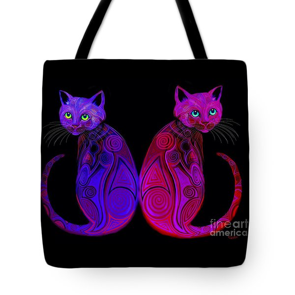 Tote Bag featuring the digital art Tribal Cats by Nick Gustafson