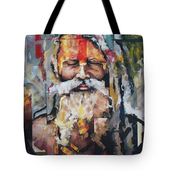 Tote Bag featuring the painting Tribal Chief Sadhu by Richard Day
