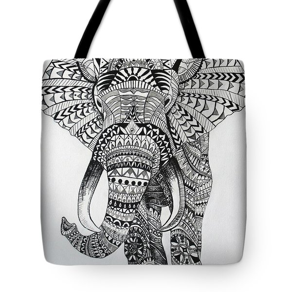 Tribal Elephant Tote Bag by Ashley Price