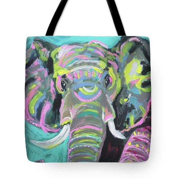 Tribal Elephant Tote Bag by Kim Heil